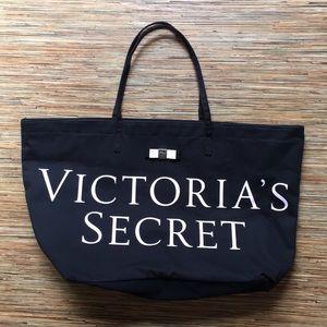 Victoria's Secret Large Tote Black Canvas Pink Bow